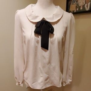 Forever 21 Cream Blouse with Black Tie Front